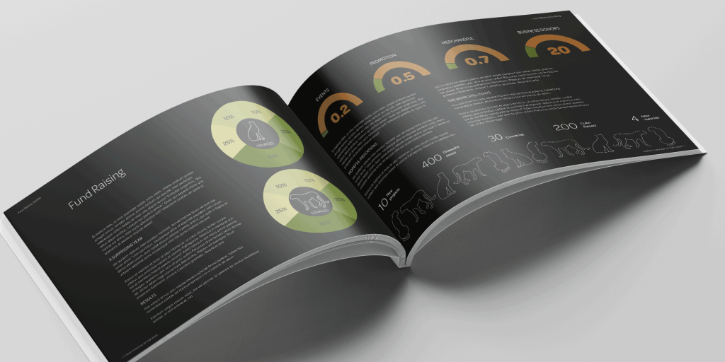 Example brochure pages with diagrams